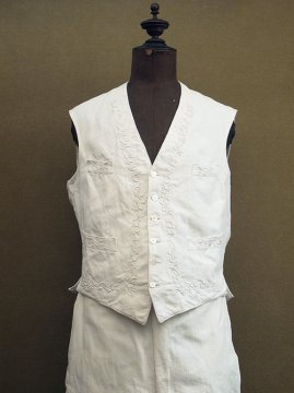 cir.1910-1930's embroidered white gilet + trousers