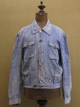 cir. 1940's indigo linen work jacket