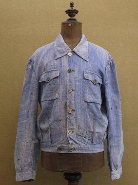 cir. 1940's indigo linen work jacket
