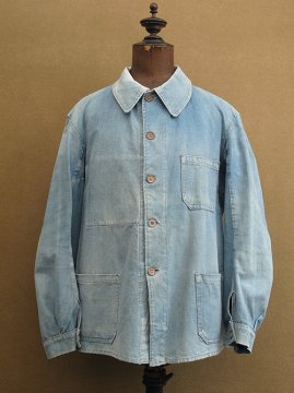cir. 1930-1940's indigo linen × cotton work jacket