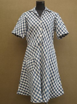 ~1950's indigo checked linen S/SL dress