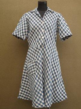 ~1950's indigo checked linen S/SL dress