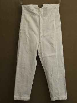 cir. 1930's white cotton herringbone trousers