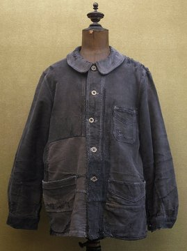 cir.1940's patched black moleskin work jacket