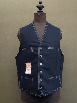 mid 20th c. black linen work gilet