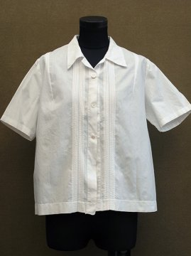 1920-1930's white cotton S/SL blouse