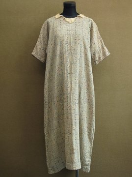1920-1930's indigo printed dress S/SL