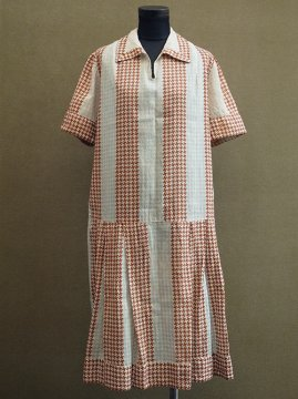 1920-1930's houndstooth check dress S/SL