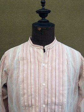 early 20th c. red striped cotton dress shirt