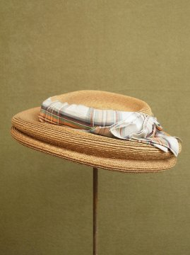 cir. 1930-1940's straw hat with antique silk ribbon