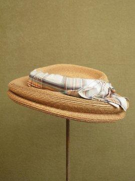 cir. 1930-1940's straw hat with antique silk ribbon