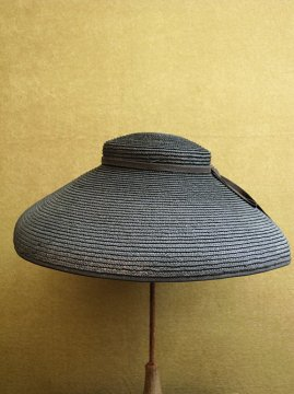 cir. 1920-1950's black straw hat