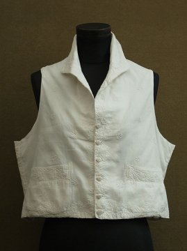 19th c. white embroidered gilet
