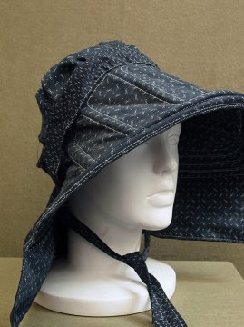 cir.1930's printed black cotton farm womans bonnet