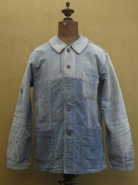 cir.1940's patched blue moleskin work jacket