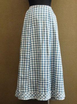 early 20th c. indigo checked linen × cotton skirt