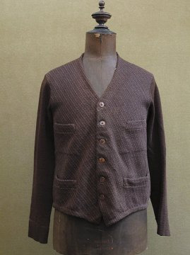 cir.1930's knitted brown wool jacket / cardi