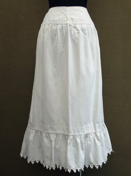 late 19th - early 20th c. white patterned cotton skirt