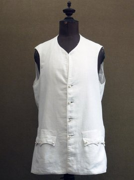 19th c. white cotton long gilet