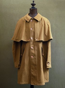 cir.1940's brown canvas cape coat