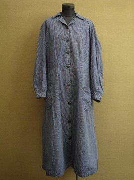 cir. 1930's striped cotton work coat/dress