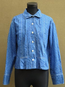 cir. 1930-1940's printed blue blouse