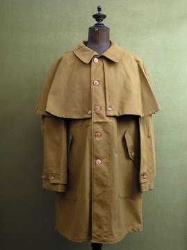 cir.1940's brown canvas cape coat dead stock