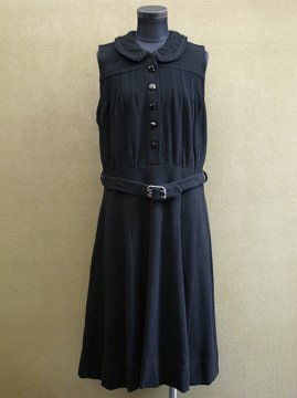 1930-1950's black wool dress N/SL