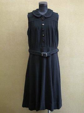 1930-1950's black wool dress N/SL