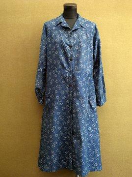 1930-1940's indigo printed work coat / dress