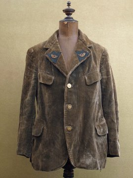 1930's brown cord hunting gamekeeper jacket