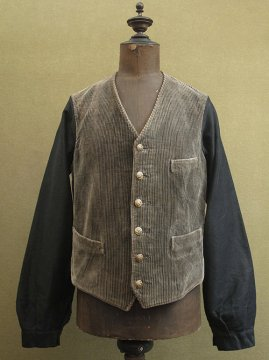cir.1930-1940's brown cord hunting gilet jacket