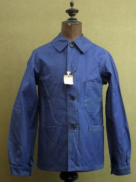 cir.1940's blue cotton twill work jacket dead stock