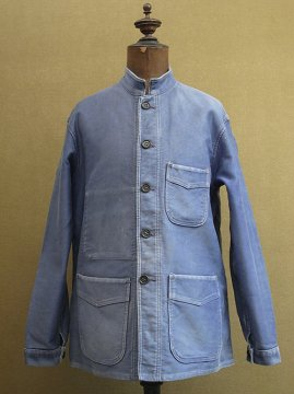 cir. 1940's stand collar blue moleskin work jacket