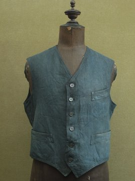 early 20th c. indigo linen gilet