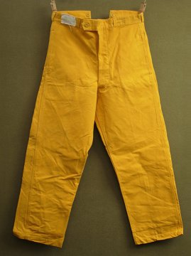 mid 20th c. yellow canvas work trousers dead stock