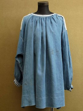 19th c. enbroidered indigo linen smock