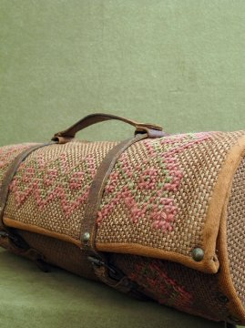 cir. early 20th c. embroidered cylindrical bag