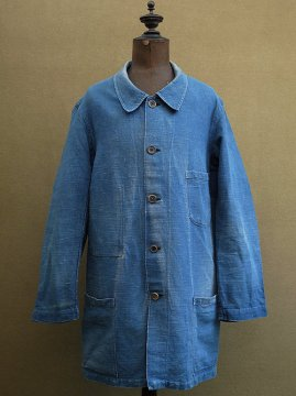 cir.1930's indigo linen work coat
