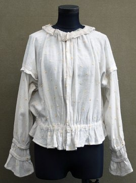 1910-1920's yellow dots embroidered blouse