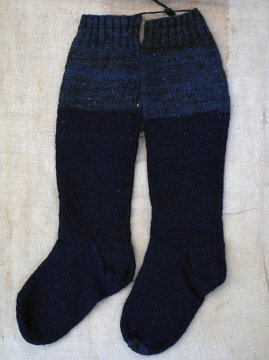 19th c. indigo wool socks