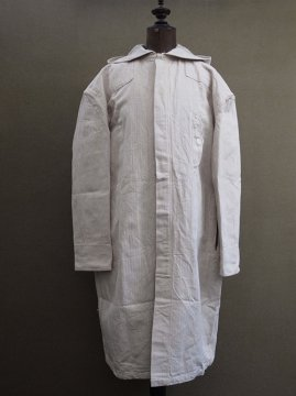 mid 20th c. herringbone linen butcher coat dead stock