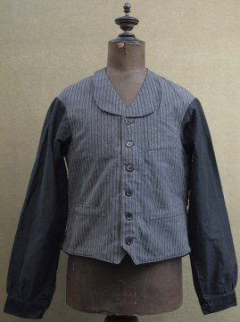 cir.1930-1940's striped cotton work gilet jacket