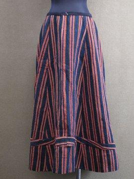 cir. 1880-1900's striped wool × linen skirt