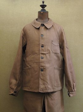 cir. 1930's brown linen twill work set up dead stock