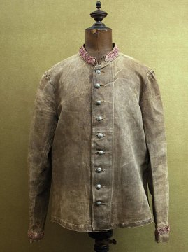 19th c. brown herringbone linen fireman jacket