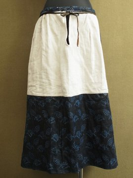 early 20th c. indigo linen skirt