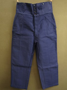 cir.1940-1950's double belted blue moleskin work trousers