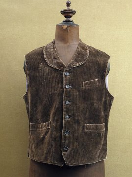cir.1930's brown cord gilet