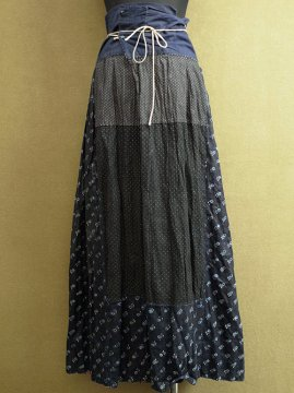 early - mid 20th c. indigo linen long skirt